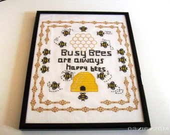 Buzzing Bees Cross-Stitch Picture - Embroidered Picture - Home Decor