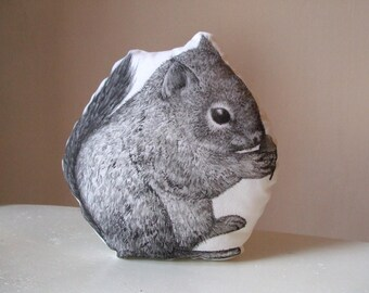 squirrel soft toy cuddly chipmunk plush woodland forest creature stuffed animal hand painted with acorn