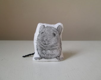 animal totem miniature mouse soft sculpture textile art plush toy hand painted realistic black white