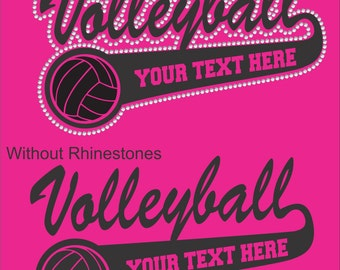 Volleyball Shirt/ Volleyball Mom Shirt/ Vinyl Rhinestone Personalized Volleyball Team Name Mascot T Shirt