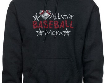 Baseball Mom Hoodie/ Baseball Mom Sweatshirt/ Baseball Mom Clothing/ Basketball Mom Gift/ Rhinestone All Star Baseball Mom Hoodie Sweatshirt