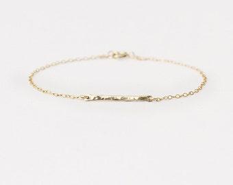 Lux - 14k gold bar bracelet - horizontal gold bar bracelet - delicate gold bracelet - minimal jewellery - bridesmaids gift