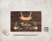 Rustic Thank You Card Printable, Digital file, Instant Download - Woodland Thank You Card