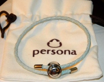 Authentic Persona Charm Bracelet Blue Leather 925 Limited Edition Adjustable Up To 9.5 in