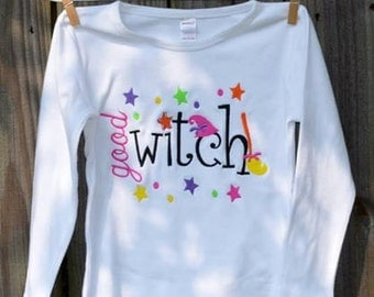 Personalized Halloween Good Witch Applique Shirt or Onesie for Boy or Girl