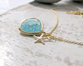 14k Gold Filled Aquamarine Necklace,Starfish Necklace,Aquamarine,Aquamarine Pendant,Starfish Jewelry,Aqua,March Birthstone,Beach Wedding