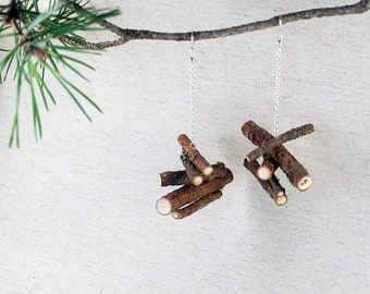 Natural Pine Wood Earrings Silver color chain. Eco friendly Made in Latvia. Handmade for Nature lovers