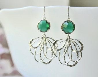 Green Dangle Earrings, Green Drop Earrings, leaf dangle earrings, bridesmaid earrings, leaf drop earrings, Feather Earrings wedding jewelry