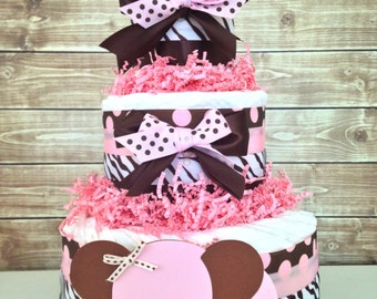 Pink and Brown Elephant Diaper Cake, Pink and Brown Baby Shower Centerpiece