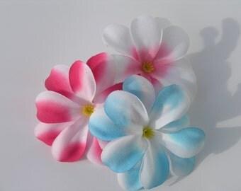 Luau flower hair clips
