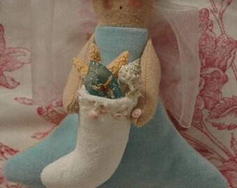 Folk Art Angel with Sea Shell Stocking (CA54-MINI-STOCK-SS)