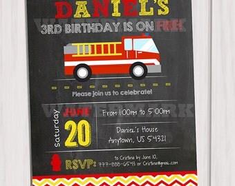 Fire Truck Invitation, Firetruck Invitation, Firefighter invite, Fire truck Chalkboard, Fireman invitation, Card printable DIY
