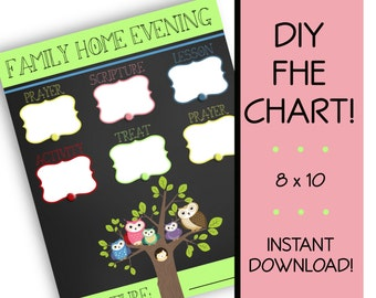 Family Home Evening Chart, INSTANT DOWNLOAD, fhe, lds, Owl Family