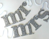 Silver Sparkle Mr and Mrs Wedding Chair Sign