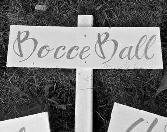 Wedding YARD GAME Signs-White-Cornhole, Bocce Ball, Washers, Ladder Ball
