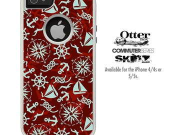 The Red Nautical Skin For The iPhone 4-4s or 5-5s Otterbox Commuter Case
