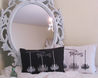 SALE on Lovely Embroidered 'Paris Chandelier Trio' Pillow stitched on faux Silk Fabric