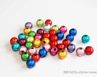 8mm Acrylic Plastic 3D Illusion Miracle Beads Mixed Colours Pack of 40, Beads for Jewelry Making (ACR057)