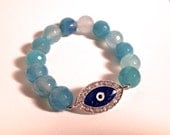 Faceted Sky Blue Agate Stretch Bracelet with Blue Eye