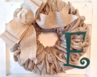 Burlap Wreath-Bow-Initial Wreath-Burlap Home Decor-Front Door-Burlap-Burlap Bow-Door--Housewarming Gift-Burlap Decor-Wreath-Burlap Wreath