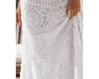 Crochet maxi skirt PATTERN, crochet TUTORIAL for every row (charts included), designer crochet skirt pattern PDF, skirt crochet pattern pdf.