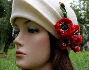 White felt bonnet Bridal millinery Red poppies Retro Wedding hat Bridal headpiece 1920s cloche hat Full-winter