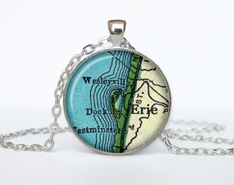 Erie map pendant, Erie map necklace, Erie map jewelry, Erie Pennsylvania