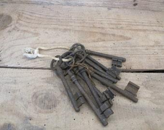 Set of 8 Antique French Keys skeletons
