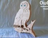 Owl jigsaw puzzle in maple with Swarovski crystal eyes