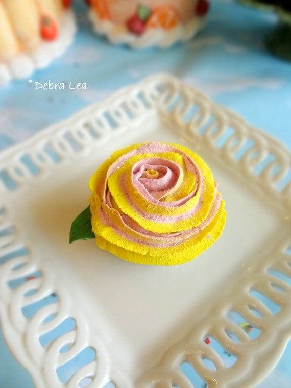Fake Cupcake Handmade Spring Shabby Cottage Victorian Fake Rose Cupcake with Fondant Leaf Mother's Day Valentine's Tea Party