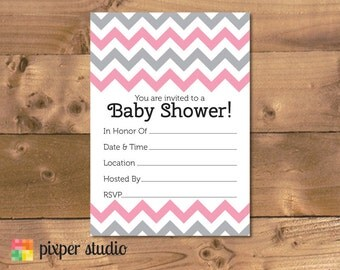 INSTANT DOWNLOAD - Chevron Baby Shower Fill In Invitation - Pink and Grey Fill-In Baby Shower Invitation