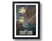 Harry Potter Poster Hogwarts Castle Travel Poster, Harry Potter Art, Harry Potter Diagon Alley, Harry Potter Wall Art
