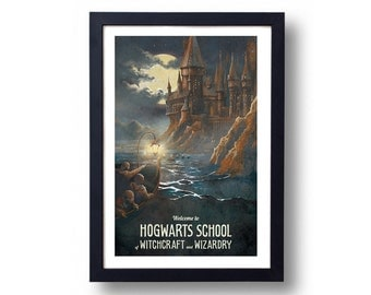 Harry Potter Poster Hogwarts Castle Travel Poster, Harry Potter Art, Harry Potter Diagon Alley, Harry Potter Wall Art