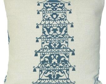 Blue Pagoda  Decorative Throw Pillow Case Asian Style Cream Cushion Cover Lorca Ming