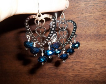 Blue Crystals and Silver Hearts Dangle Earrings   #36iii