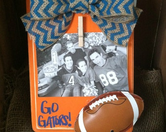 Florida Gators Football Picture Frame-Rustic-Blue Chevron-UF Frame