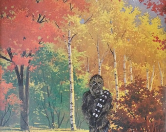 Star Wars Chewbacca Parody Painting, 'Habitat' - Limited Edition Print or Poster, Funny Star Wars Chewy Print Parody, Gift for Star Wars Fan