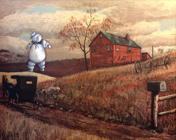 Ghostbusters Stay Puft Painting, 'Stay Puft II' - Repurposed Thrift Art - Limited Edition Print or Poster