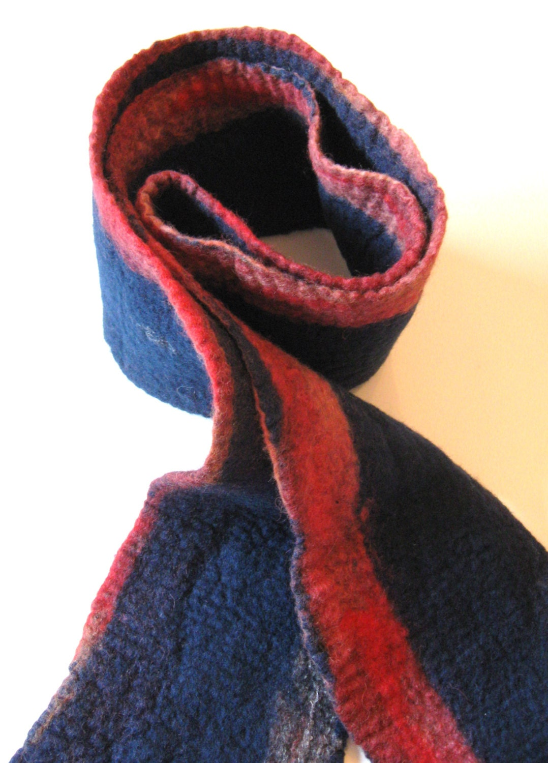felted blue wool scarf blue and terracotta scarf for