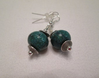Raw Chrysocolla and Silver Earrings