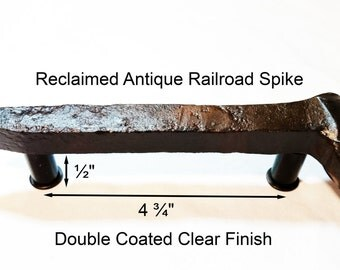 """4 3/4"""" Right Sealed Railroad Spike Cupboard Handle Dresser Drawer Pull Cabinet Knob Antique Vintage Old Rustic Re-purposed House Restoration"""
