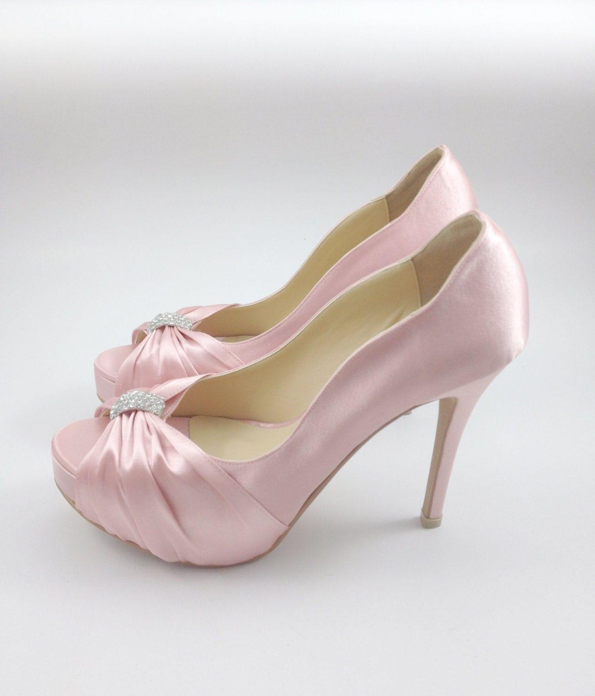 Pink High Heels For Wedding: Sweet Pink Wedding Shoes With Rhinestones Pastel Pink Bridal