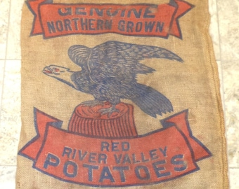 American Eagle Vintage Burlap Potato Sack, Old Barn and Farm Salvage