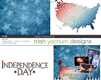 4th of July Digital - Patriotic Clipart  Scrapbook - 1776 Independence Day Printables - July 4th Mini Kit - Instant Download