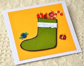 Paper Quilling Quilled Card Christmas Card Quilled Candy Christmas Stocking Card Holiday Season Holiday Greeting Paper Art Quill Card Xmas