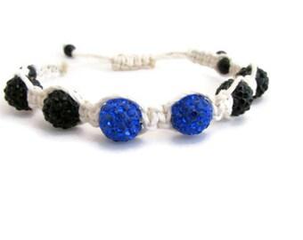 CLEARANCE Shamballa braided bracelet, glittery black blue bracelet, cord bracelet, braided macrame adjustable bracelet, handmade in the UK