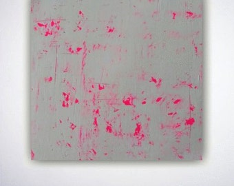 Original abstract painting wall art neon pink white modern art contemporary painting textured minimalist