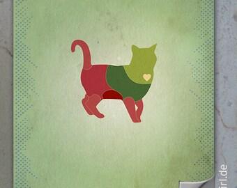 "Retro poster ""Dangerzones of a cat"""