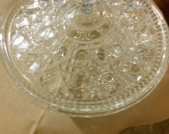 Cut Crystal Glass Serving Bowl with Lid