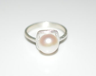 Size 6 Sterling Silver Fresh Water Pearl Ring with Satin Matte Finish - Sterling Silver Ring with White Pearl